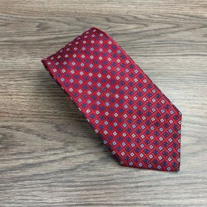 Jos A Bank Red w/ Blue & Navy Check Tie